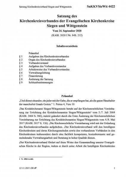 4422 Satzung Kirchenkreisverband Siegen und Wittgenstein