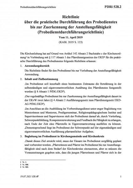 528.2 Probedienstdurchführungsrichtlinie