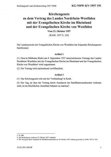 191 Kirchengesetz zum Kirchenvertrag 1957 NRW