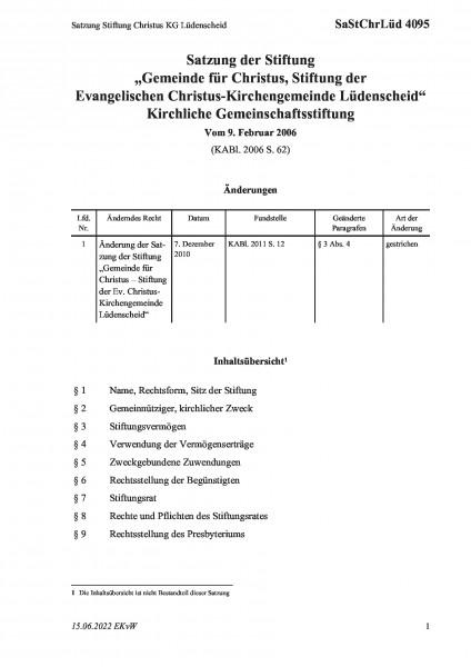 4095 Satzung Stiftung Christus KG Lüdenscheid