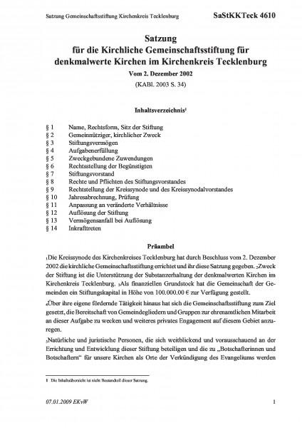 4610 Satzung Gemeinschaftsstiftung Kirchenkreis Tecklenburg