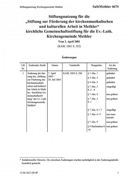 4674 Stiftungssatzung Kirchengemeinde Methler