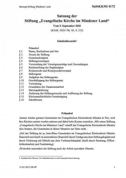 4172 Satzung Stiftung Mindener Land