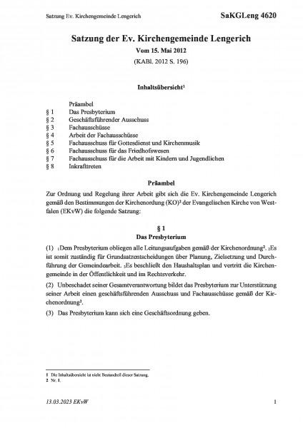 4620 Satzung Ev. Kirchengemeinde Lengerich