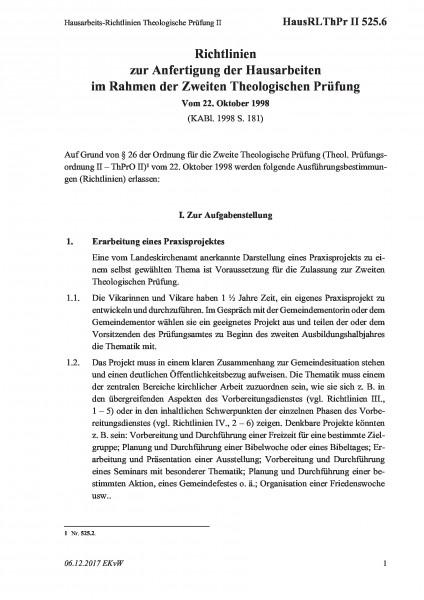 525.6 Hausarbeits-Richtlinien Theologische Prüfung II