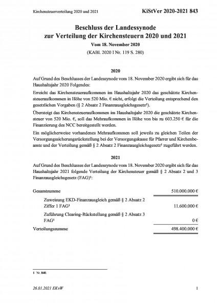 843 Kirchensteuerverteilung 2020 und 2021