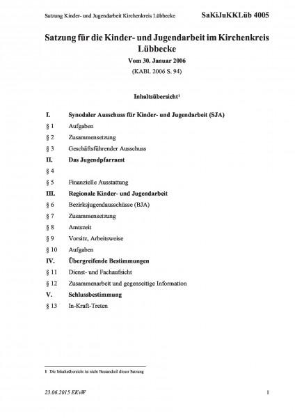 4005 Satzung Kinder- und Jugendarbeit Kirchenkreis Lübbecke