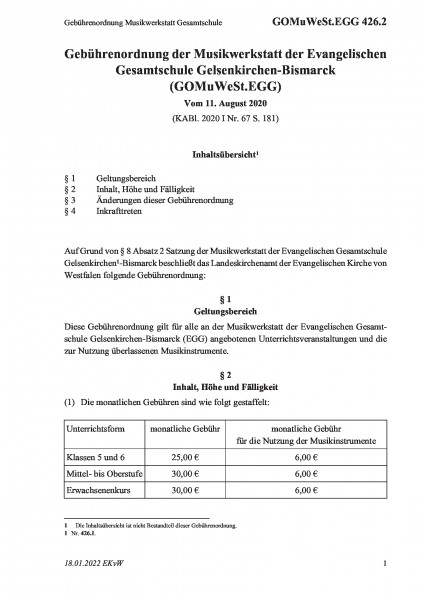 426.2 Gebührenordnung Musikwerkstatt Gesamtschule
