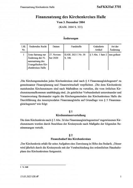 3701 Finanzsatzung Kirchenkreis Halle