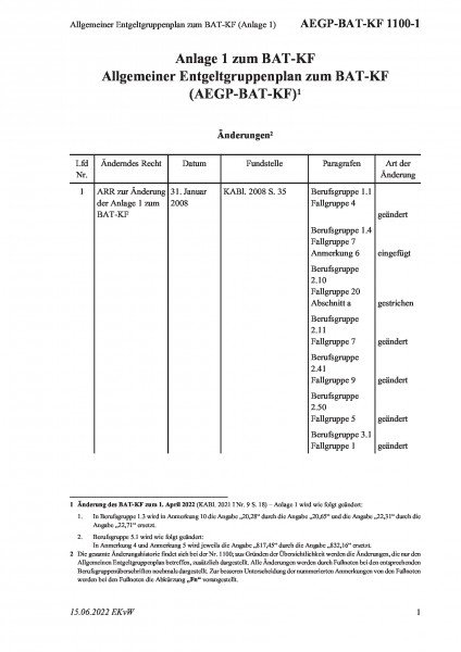 1100-1 Allgemeiner Entgeltgruppenplan zum BAT-KF (Anlage 1)