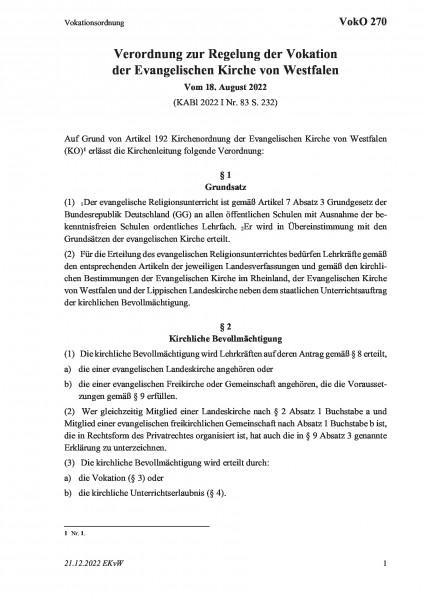 270 Vokationsordnung