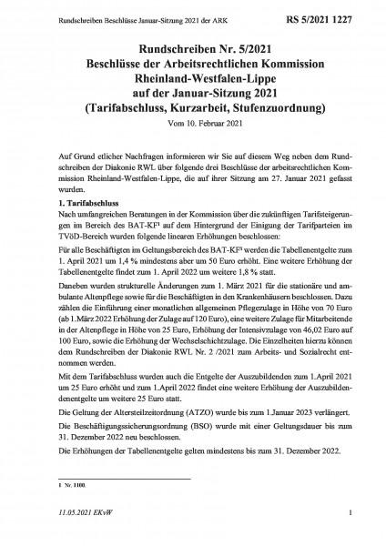 1227 Rundschreiben Beschlüsse Januar-Sitzung 2021 der ARK