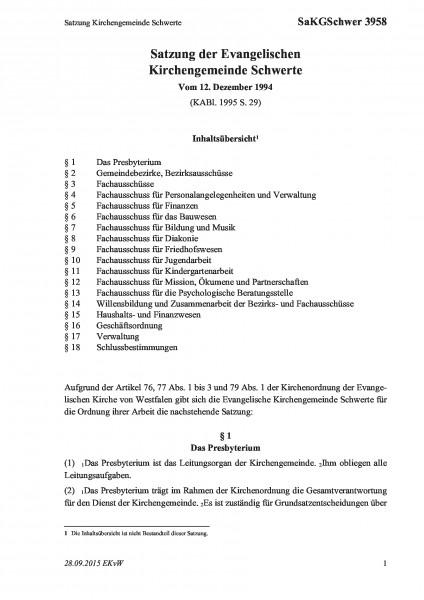 3958 Satzung Kirchengemeinde Schwerte