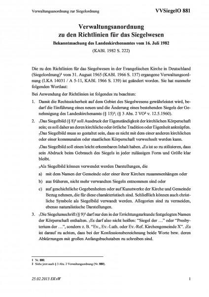 881 Verwaltungsanordnung zur Siegelordnung