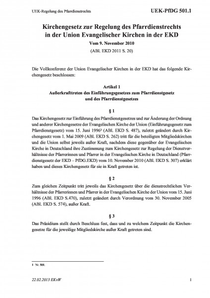 501.1 UEK-Regelung des Pfarrdienstrechts