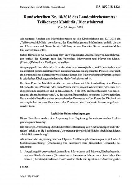 1224 Rundschreiben zur Mobilität / Dienstfahrrad