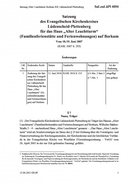 4054 Satzung Alter Leuchtturm Borkum KK Lüdenscheid-Plettenberg