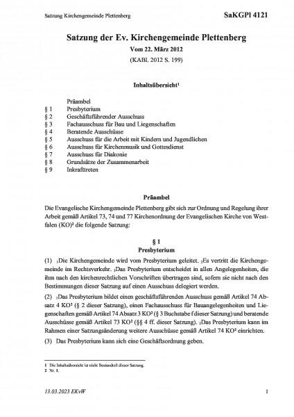 4121 Satzung Kirchengemeinde Plettenberg