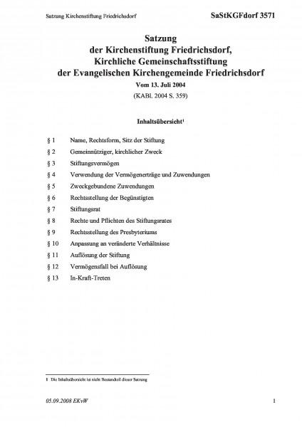 3571 Satzung Kirchenstiftung Friedrichsdorf