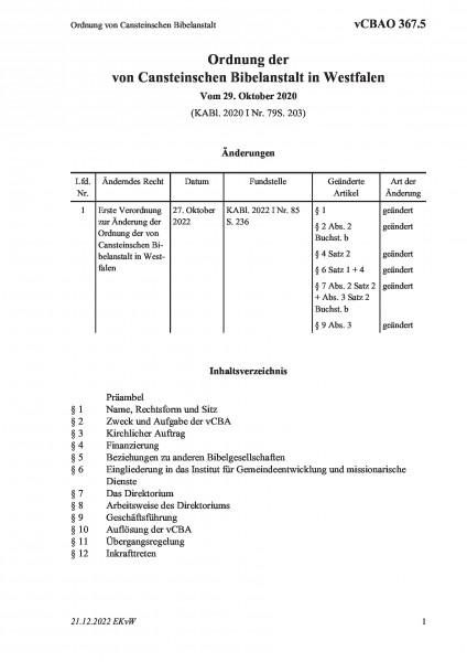 367.5 Ordnung von Cansteinschen Bibelanstalt