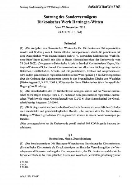 3763 Satzung Sondervermögen DW Hattingen-Witten