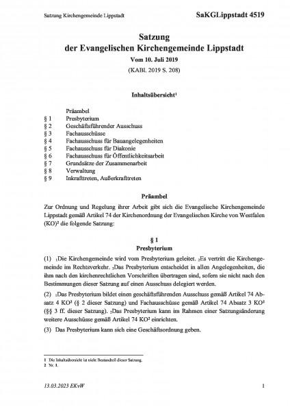 4519 Satzung Kirchengemeinde Lippstadt