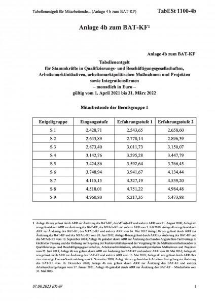 1100-4b Tabellenentgelt für Mitarbeitende... (Anlage 4 b zum BAT-KF)