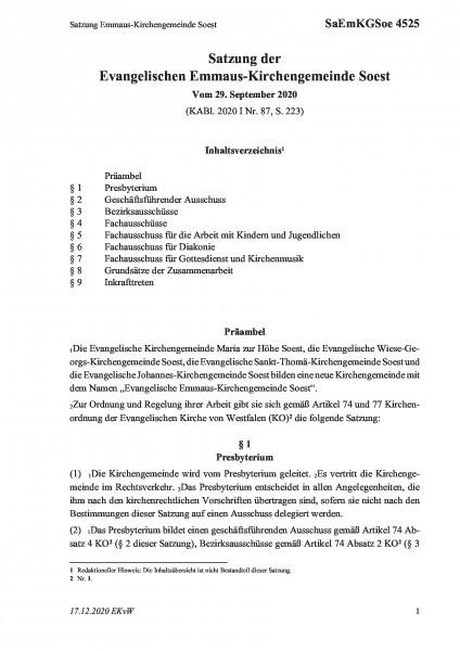 4525 Satzung Emmaus-Kirchengemeinde Soest