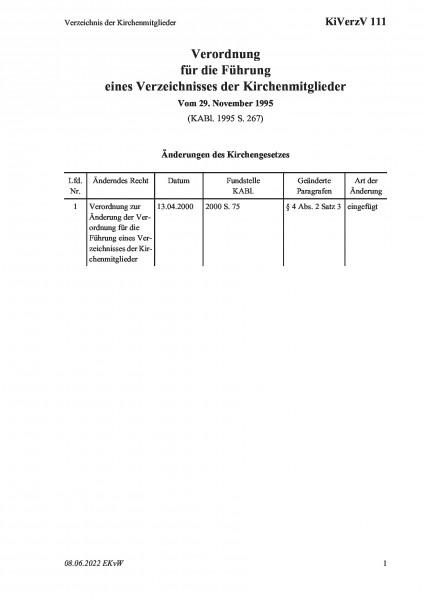 111 Verzeichnis der Kirchenmitglieder
