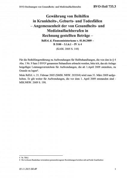 733.3 BVO-Rechnungen von Gesundheits- und Medizinalfachberufen