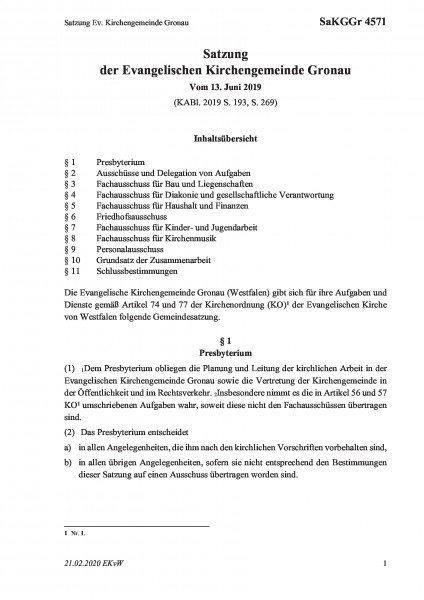 4571 Satzung Ev. Kirchengemeinde Gronau