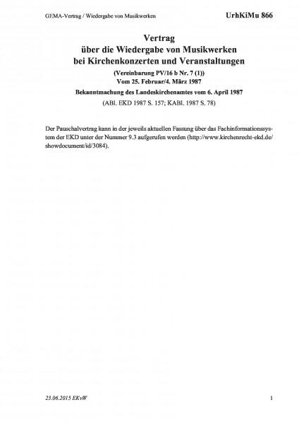 866 GEMA-Vertrag / Wiedergabe von Musikwerken