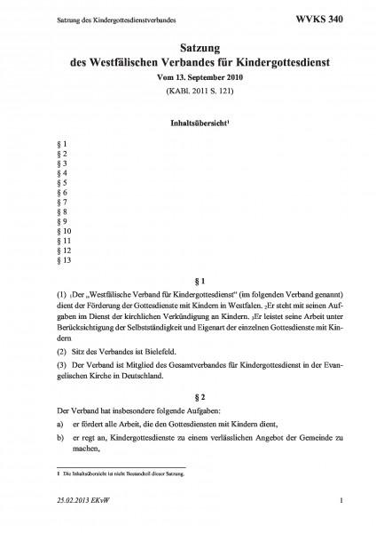 340 Satzung des Kindergottesdienstverbandes