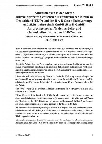 1034.1 Arbeitsmedizinische Betreuung (EKD-Vertrag) - Ansprechpersonen