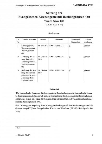 4390 Satzung Ev. Kirchengemeinde Recklinghausen-Ost