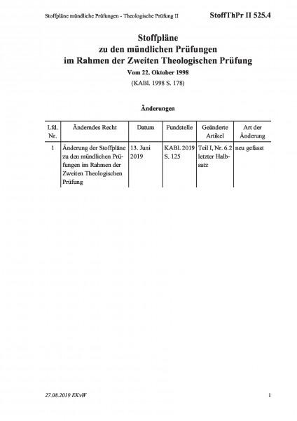 525.4 Stoffpläne mündliche Prüfungen - Theologische Prüfung II