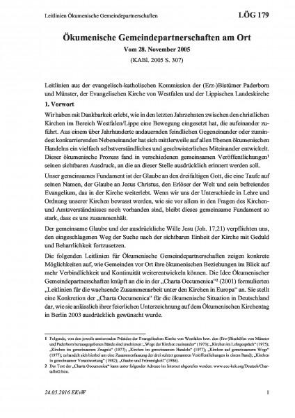 179 Leitlinien Ökumenische Gemeindepartnerschaften