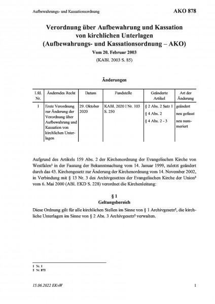 878 Aufbewahrungs- und Kassationsordnung