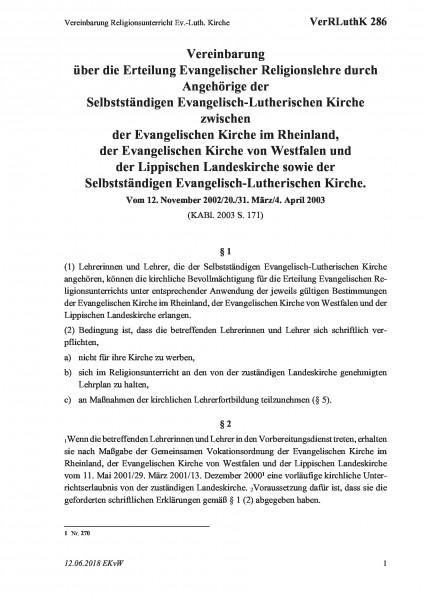 286 Vereinbarung Religionsunterricht Ev.-Luth. Kirche