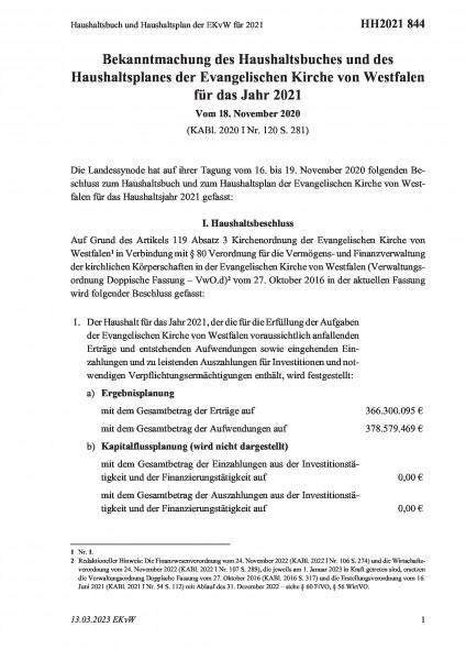 844 Haushaltsbuch und Haushaltsplan der EKvW für 2021
