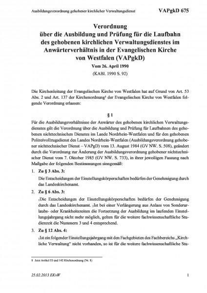 675 Ausbildungsverordnung gehobener kirchlicher Verwaltungsdienst