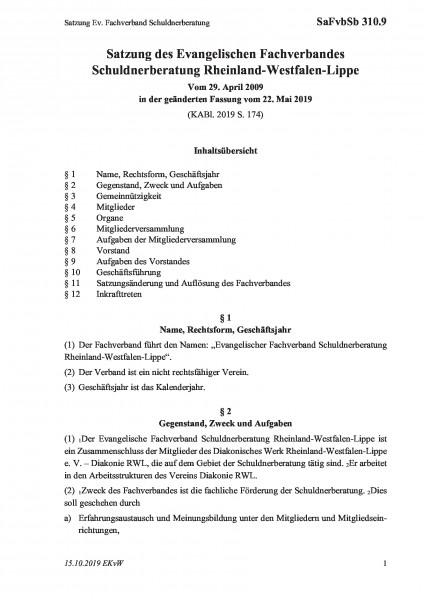 310.9 Satzung Ev. Fachverband Schuldnerberatung