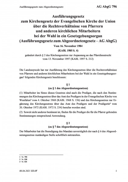 796 Ausführungsgesetz zum Abgeordnetengesetz