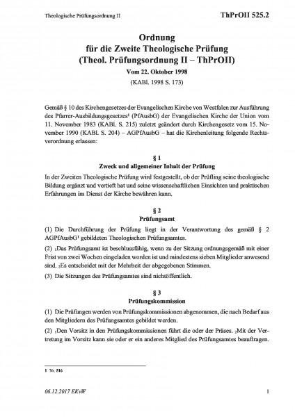525.2 Theologische Prüfungsordnung II