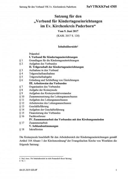 4305 Satzung für den Verbund TfK Ev. Kirchenkreis Paderborn