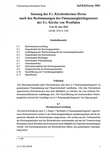 3901 Finanzsatzung Kirchenkreis Herne