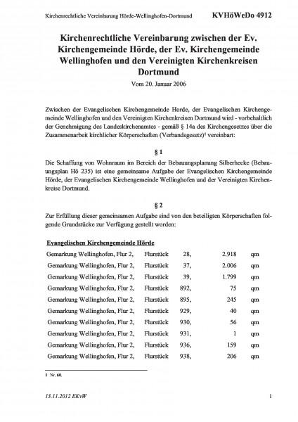 4912 Kirchenrechtliche Vereinbarung Hörde-Wellinghofen-Dortmund