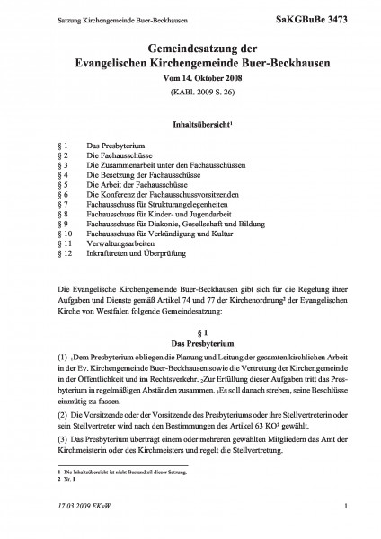 3473 Satzung Kirchengemeinde Buer-Beckhausen