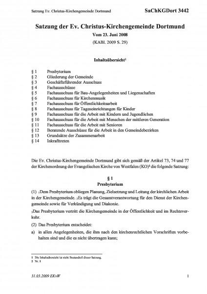 3442 Satzung Ev. Christus-Kirchengemeinde Dortmund