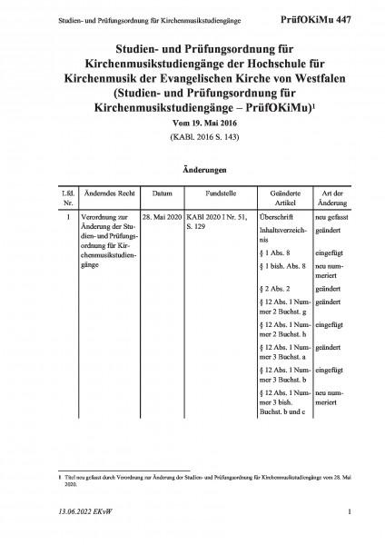 447 Studien- und Prüfungsordnung für Kirchenmusikstudiengänge